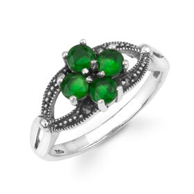 Aurora Marcasite & Emerald CZ Open Flower Silver Ring