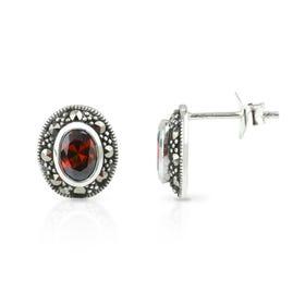 Aurora Marcasite & Garnet CZ Oval Silver Stud Earrings