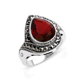 Aurora Marcasite & Garnet CZ Pear Shape Silver Ring