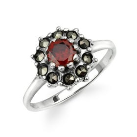 Aurora Marcasite & Garnet CZ Domed Flower Silver Ring