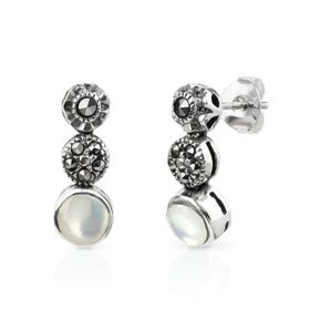 Aurora Marcasite & Mother of Pearl Silver Graduated Stud Earrings