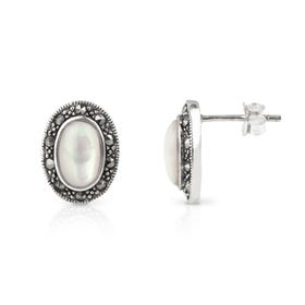 Aurora Marcasite & Mother of Pearl Oval Silver Stud Earrings