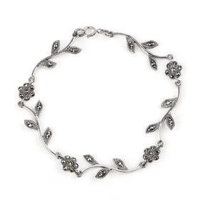 Aurora Marcasite Flower Petal Silver Bracelet