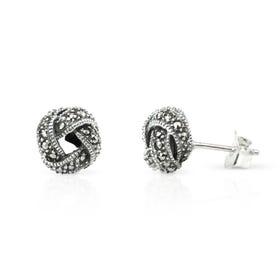 Minerva Marcasite Knot Silver Stud Earrings