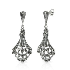 Minerva Marcasite Ornate Fan Silver Drop Earrings