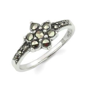 Minerva Marcasite Delicate Flower Silver Ring