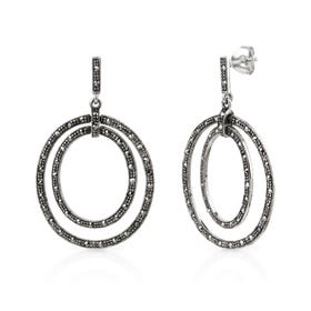 Minerva Marcasite Double Circle Silver Drop Earrings