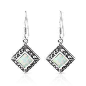 Minerva Marcasite & Opalite Square Silver Drop Earrings