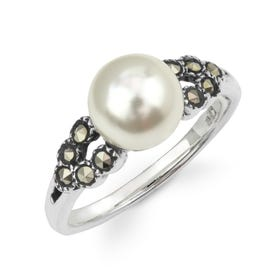 Aurora Marcasite & Pearl Beaded Silver Ring