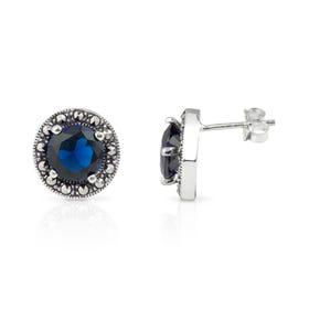 Aurora Marcasite & Sapphire CZ Round Silver Stud Earrings