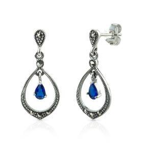 Aurora Marcasite & Sapphire CZ Open Silver Drop Earrings