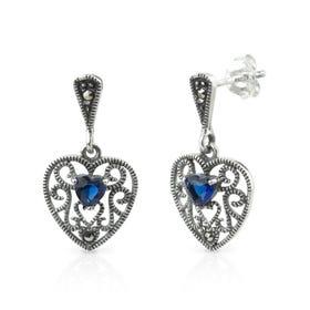 Aurora Marcasite & Sapphire CZ Heart Shape Silver Drop Earrings