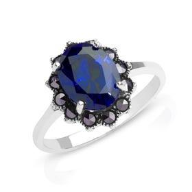 Aurora Marcasite & Sapphire CZ Silver Ring