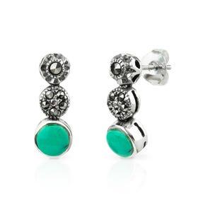 Minerva Marcasite & Turquoise Silver Graduated Stud Earrings