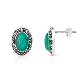 Minerva Marcasite & Turquoise Oval Silver Stud Earrings