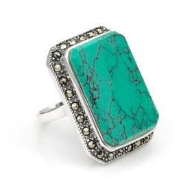 Minerva Marcasite & Turquoise Statement Silver Ring