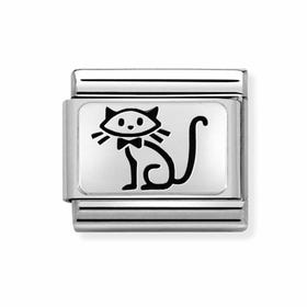 Classic Silver My Super Family Cat Charm