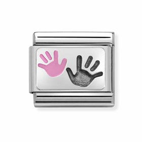 Classic Silver Parent & Child Hands Pink Charm