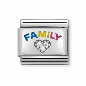 Classic Silver Family with CZ Heart Charm