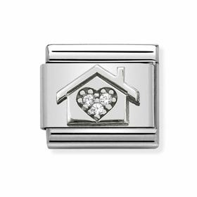 Classic Silver Home with CZ Heart Charm