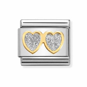 Classic Gold Double Heart with Glitter Charm