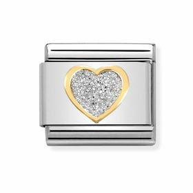Classic Gold Heart with Glitter Charm