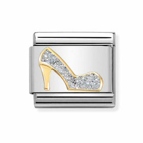 Classic Gold High Heeled Shoe with Glitter Charm