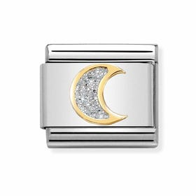 Classic Gold Moon with Glitter Charm
