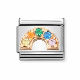 Classic Rose Gold Rainbow with CZ Charm