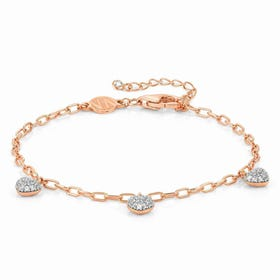 Easychic Rose Gold Plated White CZ Hearts Bracelet