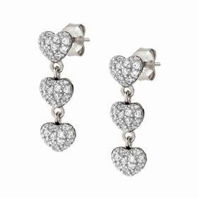 Easychic Silver White CZ Hearts Drop Earrings