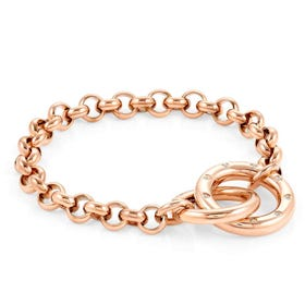 Infinito Rose Gold Plated Interlocking Rings Bracelet