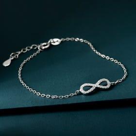 Premium Sterling Silver CZ Infinity Bracelet