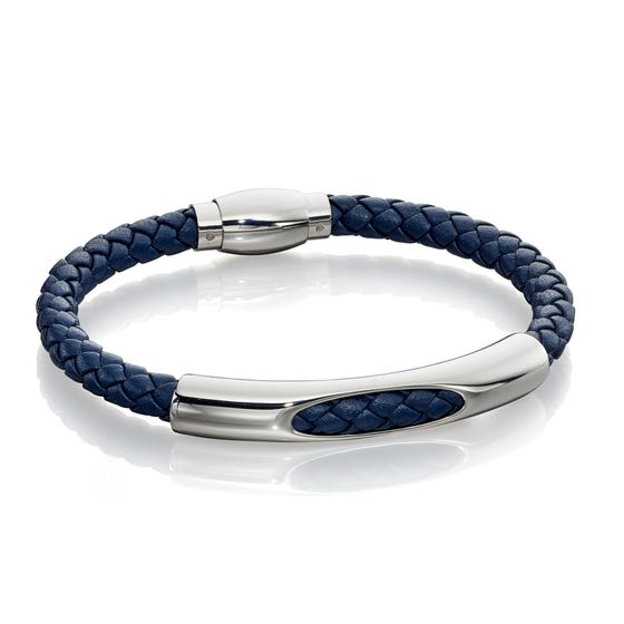 Tunnel Section Navy Leather Bracelet
