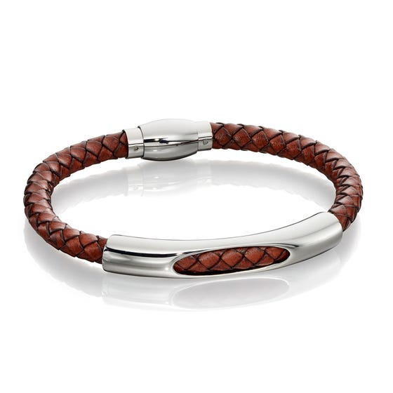Tunnel Section Brown Leather Bracelet