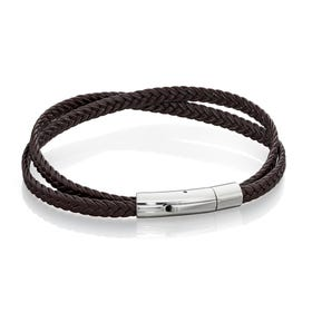 Double Wrap Flat Brown Leather Bracelet