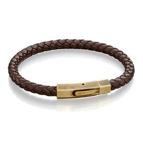 Brown Leather Bracelet with Brushed Bronze Clasp