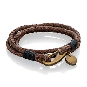 Tan Wrap Around Leather Bracelet with Burnished Clasp