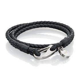 Black Wrap Around Leather Bracelet with Polished Clasp