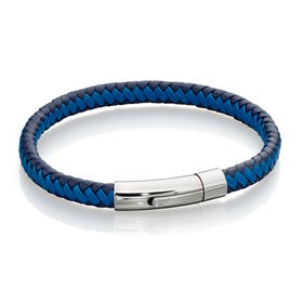 Woven Blue Leather Bracelet
