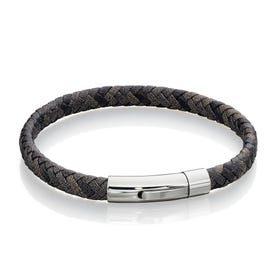Woven Grey Mix Leather Bracelet