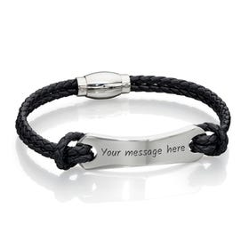 Woven Black Leather Bracelet with Steel ID Bar
