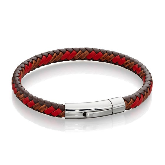 Woven Tan & Red Leather Bracelet