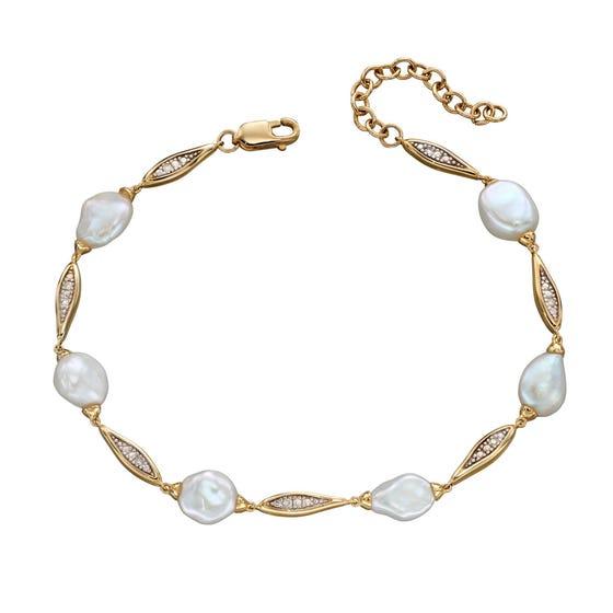 9ct Gold Keshi Pearl & Diamond Bracelet