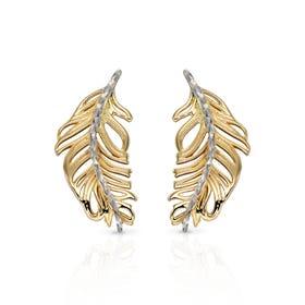 9ct Gold Diamond-Cut Feather Earrings