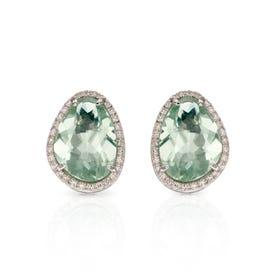9ct White Gold Green Fluorite & Diamond Irregular Earrings