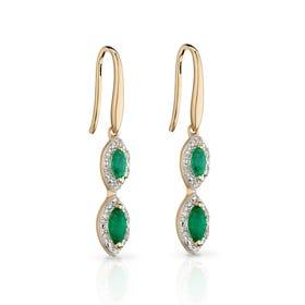 9ct Gold Emerald & Diamond Marquise Drop Earrings