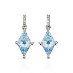 9ct White Gold Blue Topaz & Diamond Kite Earrings