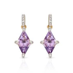 9ct Gold Amethyst & Diamond Kite Earrings
