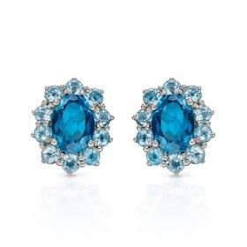 9ct White Gold Blue Topaz Oval Earrings